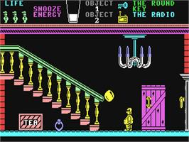 In game image of Pyjamarama on the Commodore 64.