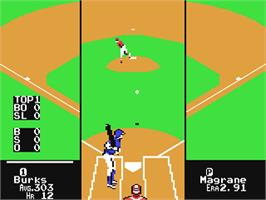 In game image of RBI 2 Baseball on the Commodore 64.