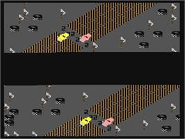 In game image of Racing Destruction Set on the Commodore 64.