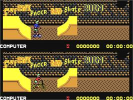 In game image of Rad Ramp Racer on the Commodore 64.
