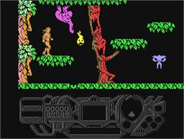 In game image of Rad Warrior on the Commodore 64.