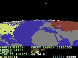 In game image of Raid Over Moscow on the Commodore 64.