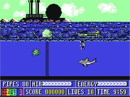 In game image of Rainbow Warrior on the Commodore 64.