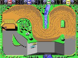 In game image of Rally Cross Challenge on the Commodore 64.