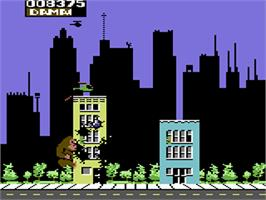 In game image of Rampage on the Commodore 64.