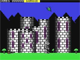 In game image of Ramparts on the Commodore 64.