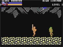 In game image of Rastan on the Commodore 64.
