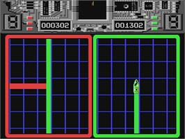 In game image of Raster Runner on the Commodore 64.