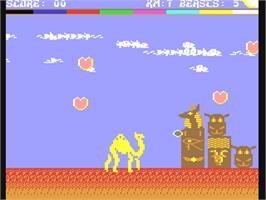 In game image of Return of the Mutant Camels on the Commodore 64.