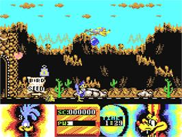 In game image of Road Runner and Wile E. Coyote on the Commodore 64.