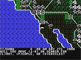 In game image of Roadwar 2000 on the Commodore 64.