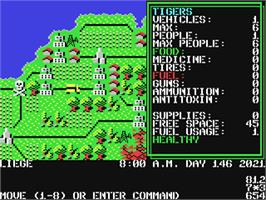 In game image of Roadwar Europa on the Commodore 64.