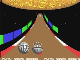 In game image of Roadwars on the Commodore 64.