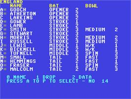 In game image of Robin Smith's International Cricket on the Commodore 64.