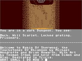 In game image of Robin of Sherwood: The Touchstones of Rhiannon on the Commodore 64.