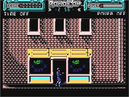 In game image of RoboCop on the Commodore 64.