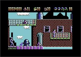 In game image of RoboCop 2 on the Commodore 64.