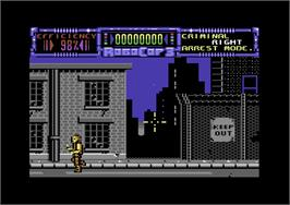 In game image of RoboCop 3 on the Commodore 64.