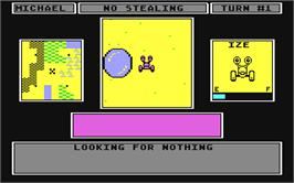 In game image of Robot Rascals on the Commodore 64.