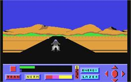 In game image of Robotron: 2084 on the Commodore 64.