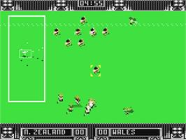In game image of Rugby: The World Cup on the Commodore 64.