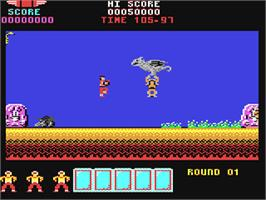 In game image of Rygar on the Commodore 64.