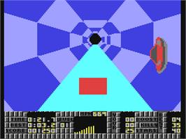 In game image of S.T.U.N. Runner on the Commodore 64.