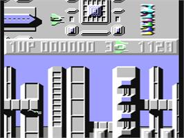 In game image of Sanxion on the Commodore 64.