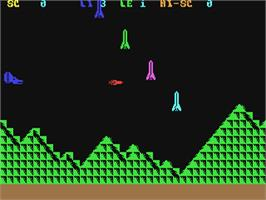 In game image of Scramble on the Commodore 64.