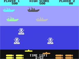 In game image of Sea Wolf on the Commodore 64.