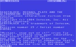 In game image of Seastalker on the Commodore 64.