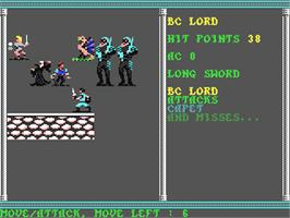 In game image of Secret of the Silver Blades on the Commodore 64.