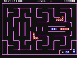 In game image of Serpentine on the Commodore 64.