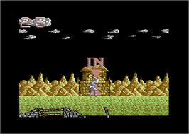 In game image of Shadow of the Beast on the Commodore 64.