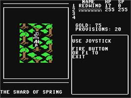In game image of Shard of Spring on the Commodore 64.