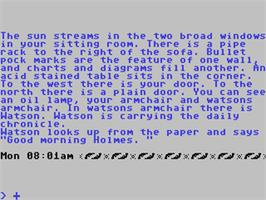 In game image of Sherlock: The Riddle of the Crown Jewels on the Commodore 64.