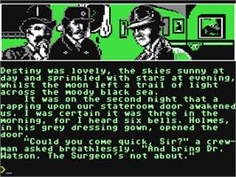 In game image of Sherlock Holmes: Another Bow on the Commodore 64.