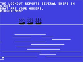 In game image of Ship of the Line on the Commodore 64.