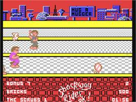 In game image of Shockway Rider on the Commodore 64.