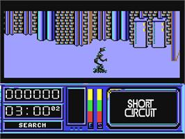 In game image of Short Circuit on the Commodore 64.