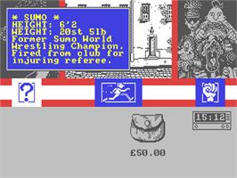 In game image of Sidewalk on the Commodore 64.