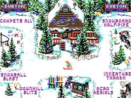 In game image of Ski or Die on the Commodore 64.