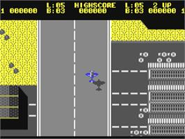 In game image of Sky Shark on the Commodore 64.