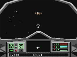 In game image of Skyfox II: The Cygnus Conflict on the Commodore 64.