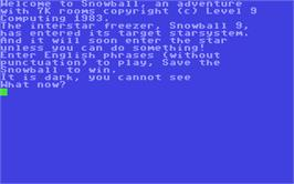 In game image of Snowball on the Commodore 64.