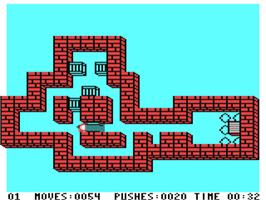 In game image of Soko-Ban on the Commodore 64.