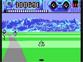 In game image of Space Racer on the Commodore 64.
