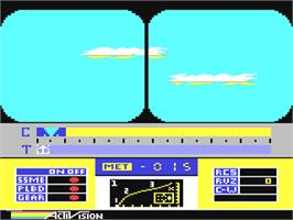 In game image of Space Shuttle: A Journey into Space on the Commodore 64.