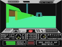 In game image of Space Station Oblivion on the Commodore 64.