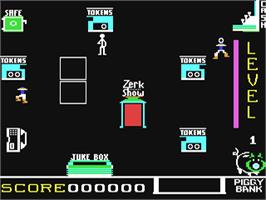 In game image of Spare Change on the Commodore 64.